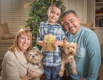 Young Mixed Race Family In Front of Christmas Tree Stock Image