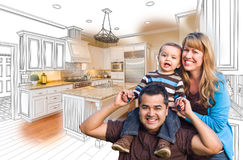 Young Mixed Race Family Over Kitchen Drawing with Photo Combinat. Happy Young Mixed Race Family Over Kitchen Drawing with Photo Combination Stock Photos