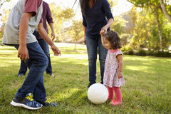 Young mixed race family playing with ball in a park, crop Stock Photo