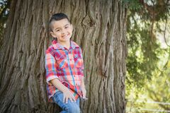 Young Mixed Race Hispanic Caucasian Boy Near a Tree Outdoors. Mixed Race Young Boy Standing Outdoors stock photography
