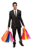 Young Mixed Race Man with Shopping Bags. Royalty Free Stock Image