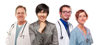 Young Mixed Race Woman with Doctors and Nurses Behind Stock Photos