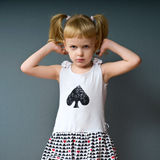 Young model. The girl looks directly at the camera and began to think about something Royalty Free Stock Photography