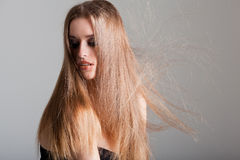 Young model with electrified hair Stock Photos