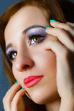 Young model face close-up beautiful makeup Royalty Free Stock Photography