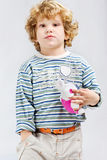 Young model with his toy Stock Images