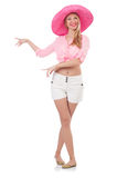 Young model i panama hat Stock Images