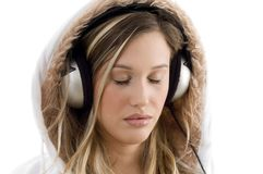 Young Model Listening Music With Headphones Stock Photo