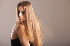 Young model with long straight hair Royalty Free Stock Images