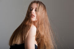 Young model with long straight hair Royalty Free Stock Photography