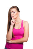 Young model looking woman shows sign to be silent Stock Images