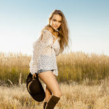 Young model on meadow - outdoors shot Stock Image