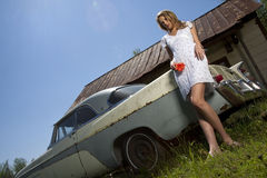 Young Model With Old Car Royalty Free Stock Images