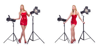 The young model during photoshoot in the studio Royalty Free Stock Photos