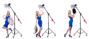 The young model during photoshoot in the studio Stock Photo