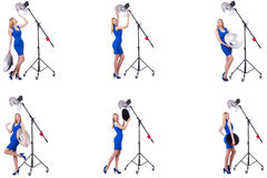 The young model during photoshoot in the studio Royalty Free Stock Photo