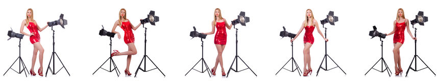 The young model during photoshoot in the studio Stock Image