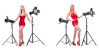 The young model during photoshoot in the studio Stock Images