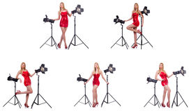 The young model during photoshoot in the studio Stock Photography