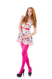 Young model with pink stockings Royalty Free Stock Images