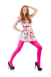 Young model with pink stockings Royalty Free Stock Image