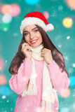 Young model in pink sweater Royalty Free Stock Photography