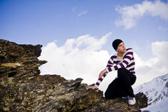 Young Model Posing At High Altitude Stock Photography