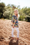 Young model posing in casual clothes on beach Royalty Free Stock Image