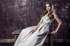 Young model posing in luxury wedding dress royalty free stock photo