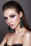 Young model with professional make up stock photography