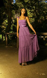 Young model in Purple dress. Dramatic fashion shot of female model wearing purple flowing dress Stock Photo
