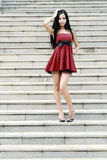 Young model on stairs Royalty Free Stock Photos