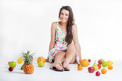 Sitting between the citrus. Stock Photography