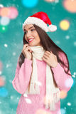 Young model in sweater and hat Stock Images