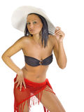 Young model wearing bikini and hat Royalty Free Stock Photography