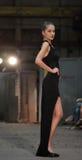 Young model wearing a black elegant dress Stock Photos