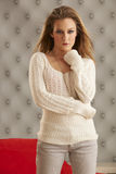Young Model White Sweater Royalty Free Stock Photos