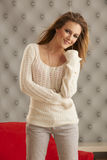 Young Model White Sweater Royalty Free Stock Image