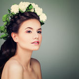Young Model Woman with Prom Hairstyle, Makeup and Flowe Royalty Free Stock Photo