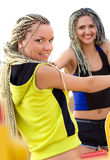 Young models working out on fitness playground Stock Image