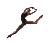 Young modern ballet dancer jumping. On white background stock photo