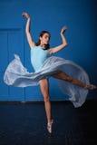 Young modern ballet dancer posing on blue Stock Photo