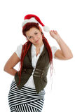 Young modern christmas girl on white background. Royalty Free Stock Photo