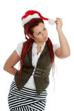 Young modern christmas girl on white background. Royalty Free Stock Photos