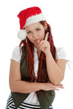 Young modern christmas girl on white background. Royalty Free Stock Image