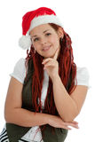 Young modern christmas girl on white background. Stock Photo