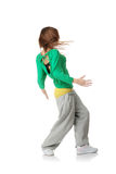 Young modern dancer. Isolated on white background stock photos
