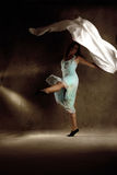 Young modern dancing girl in colorful dress Royalty Free Stock Images