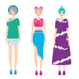 Young modern girls with colorful hairstyle. Fashionable Woman dresscode. Smiling Females in trendy casual clothes. 90s style Royalty Free Stock Image