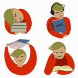 student loves to read. royalty free illustration